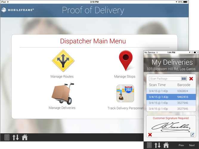 Mobile proof of delivery software